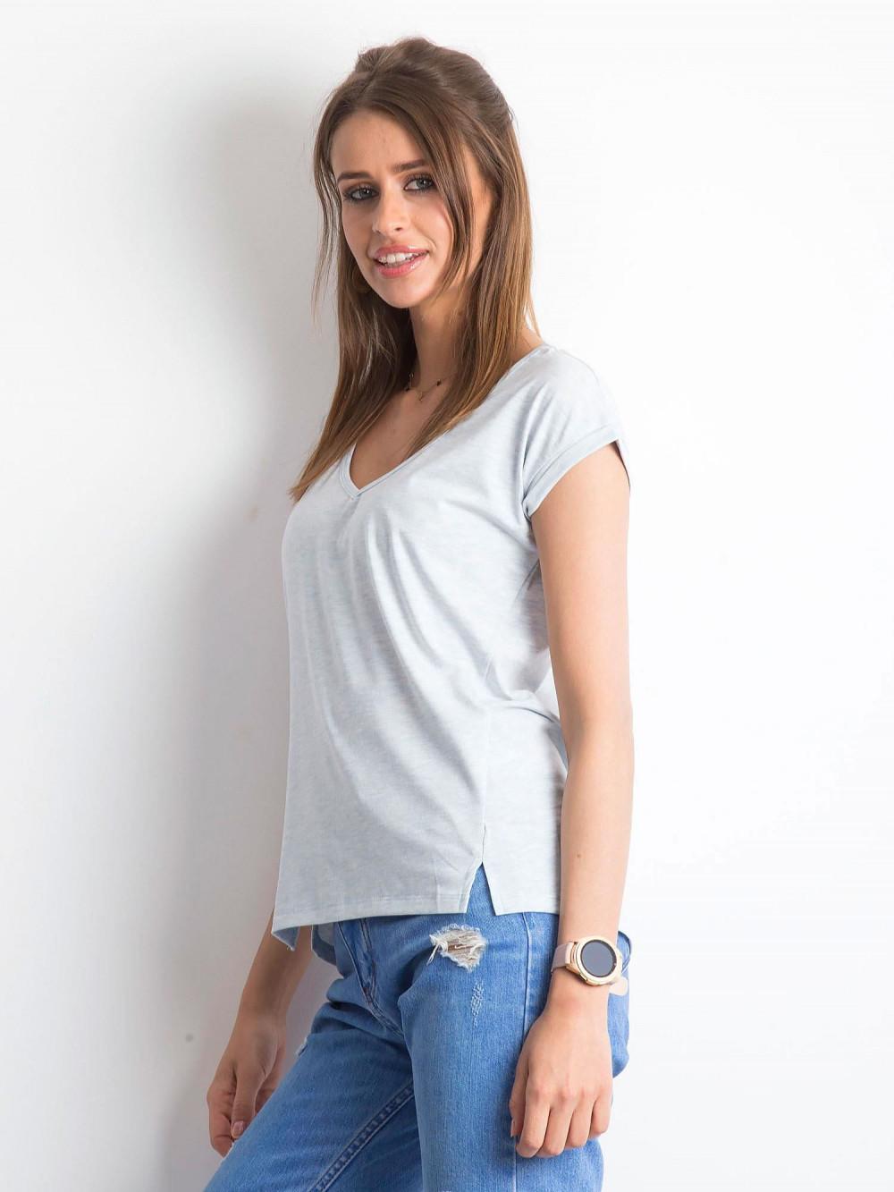 Jasnoniebieski melanżowy t-shirt z dekoltem w serek Secret 2