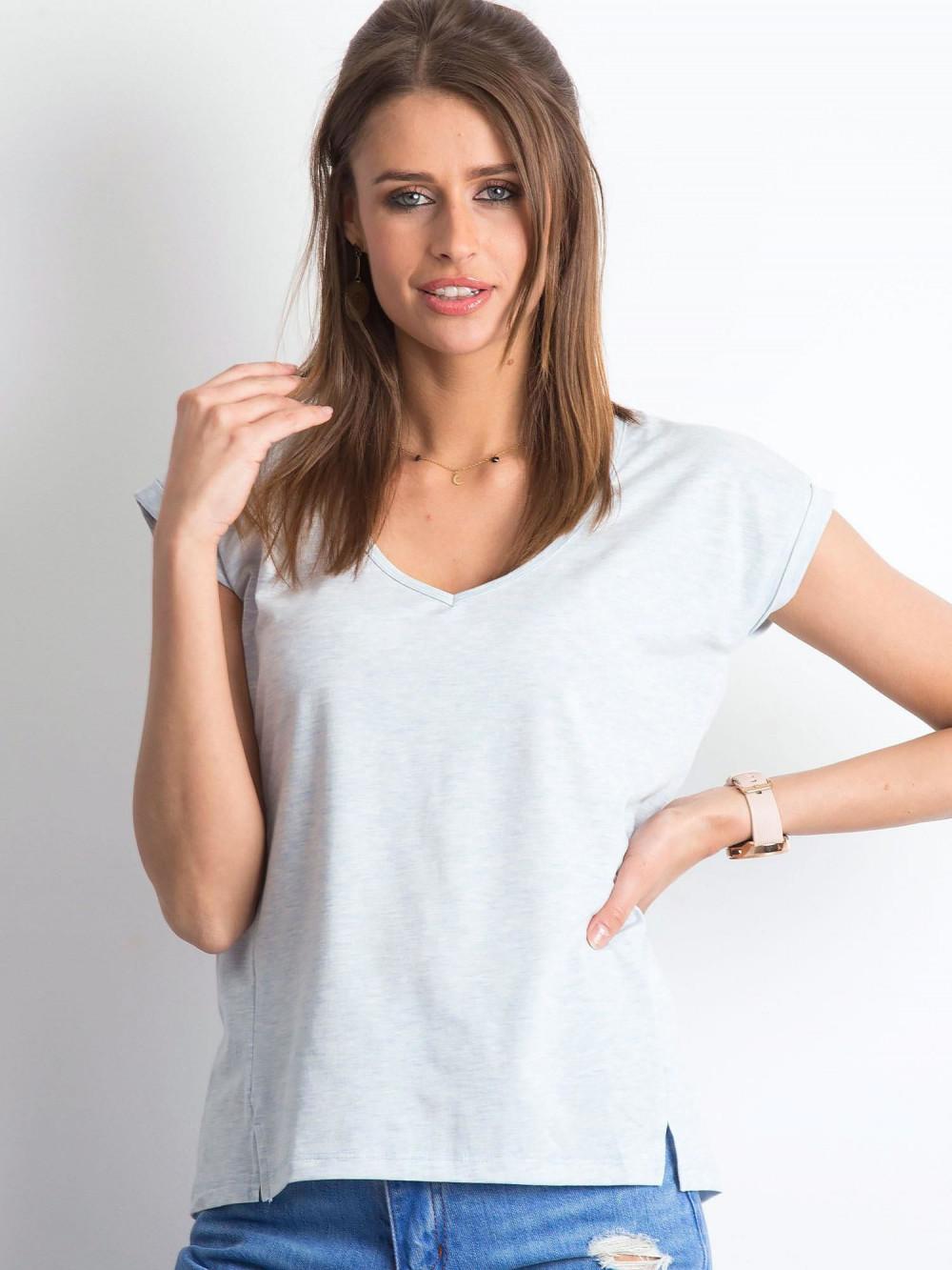 Jasnoniebieski melanżowy t-shirt z dekoltem w serek Secret 1