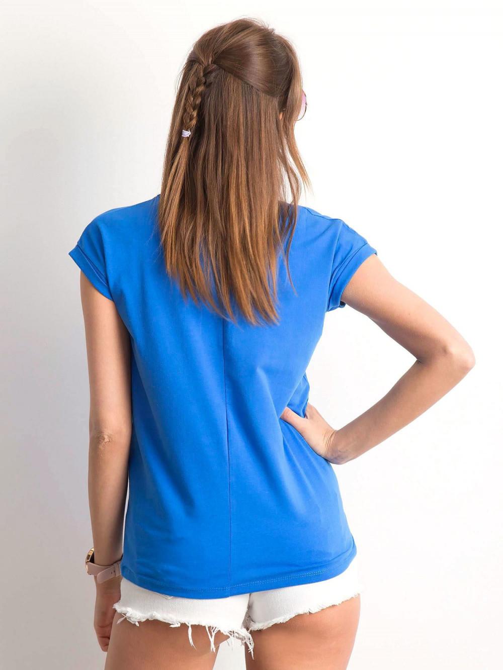 Ciemnoniebieski t-shirt z dekoltem w serek Secret 3