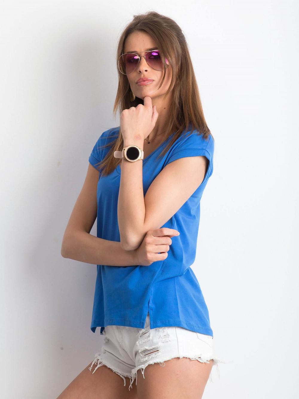 Ciemnoniebieski t-shirt z dekoltem w serek Secret 2