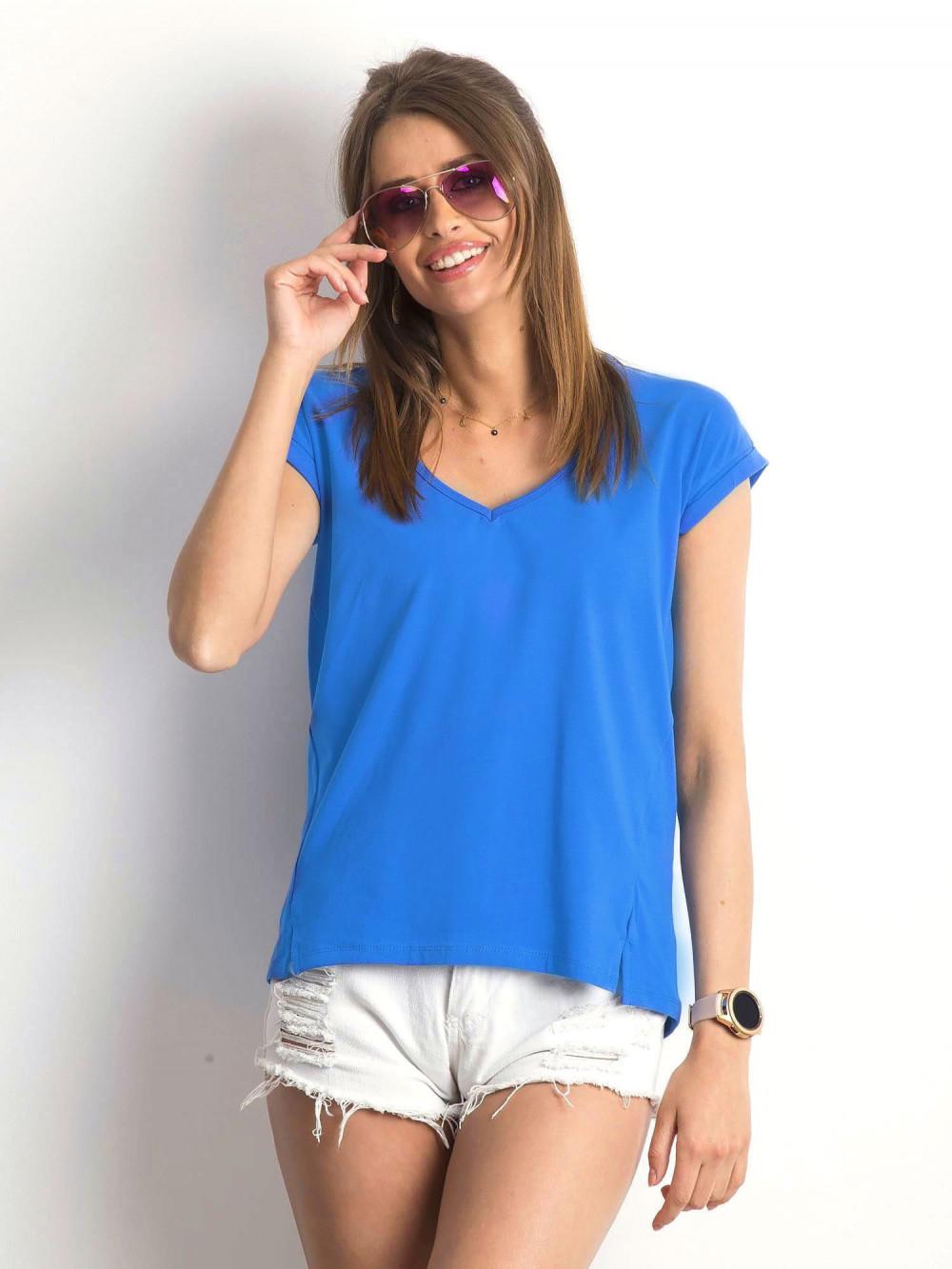 Ciemnoniebieski t-shirt z dekoltem w serek Secret 1