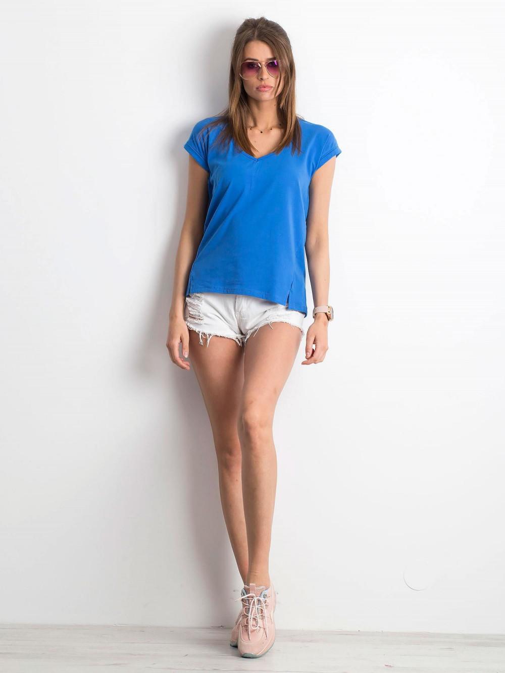 Ciemnoniebieski t-shirt z dekoltem w serek Secret 4