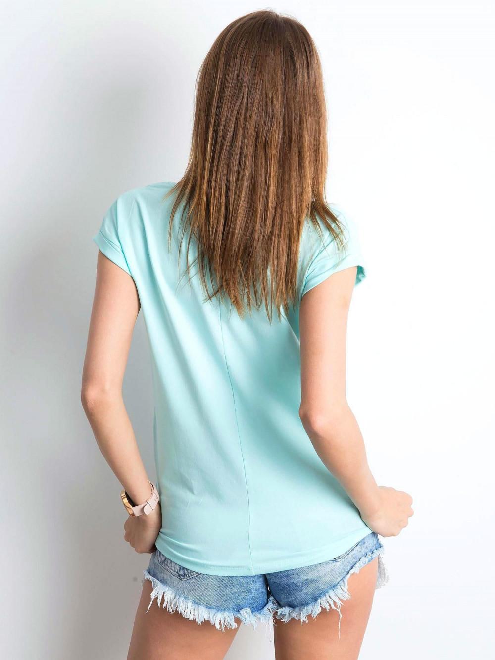 Miętowy t-shirt z dekoltem w serek Secret 3