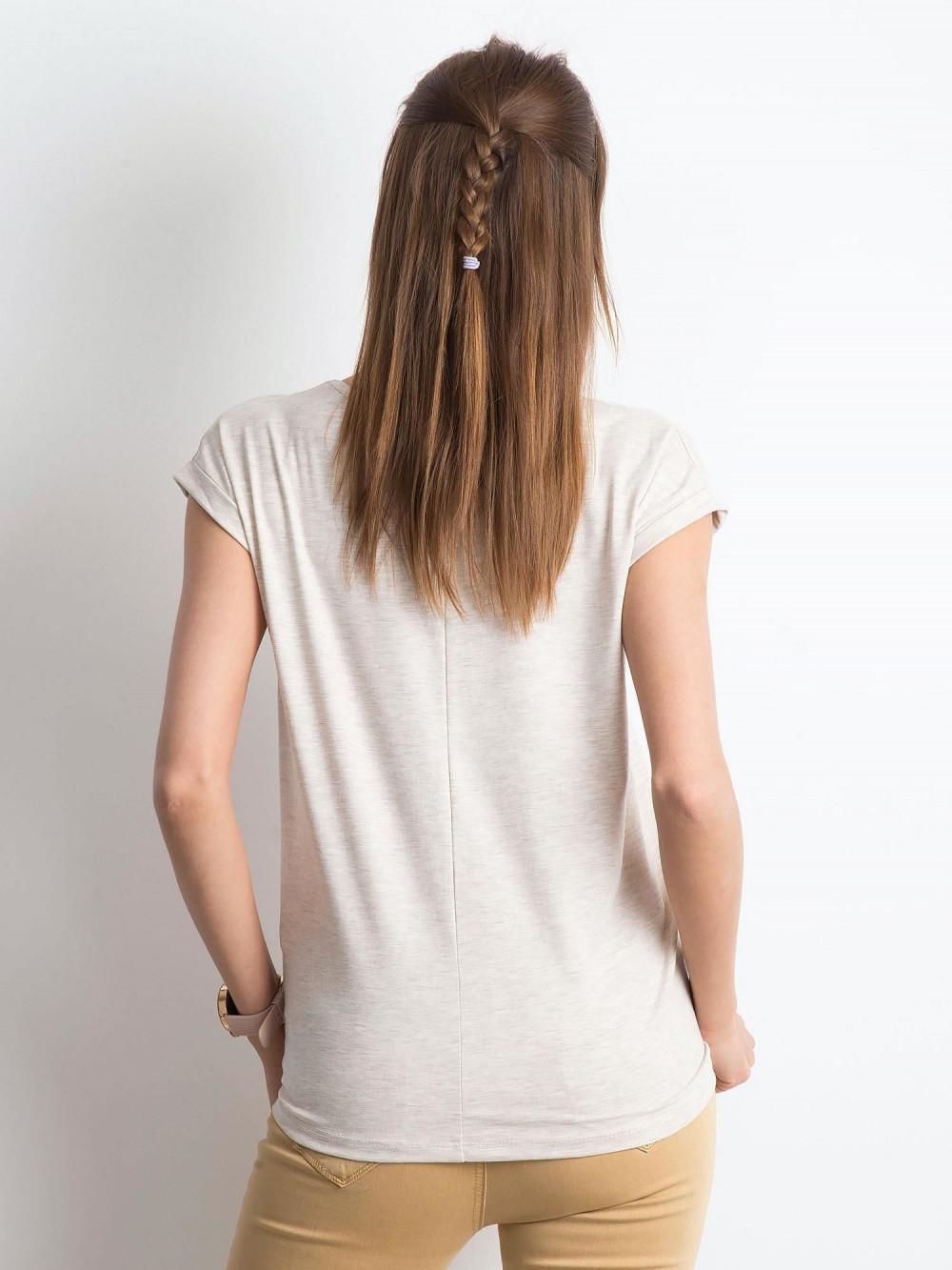 Beżowy melanżowy t-shirt z dekoltem w serek Secret 3