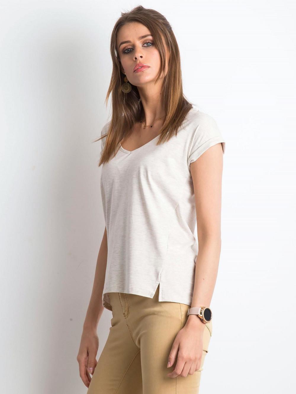 Beżowy melanżowy t-shirt z dekoltem w serek Secret 2