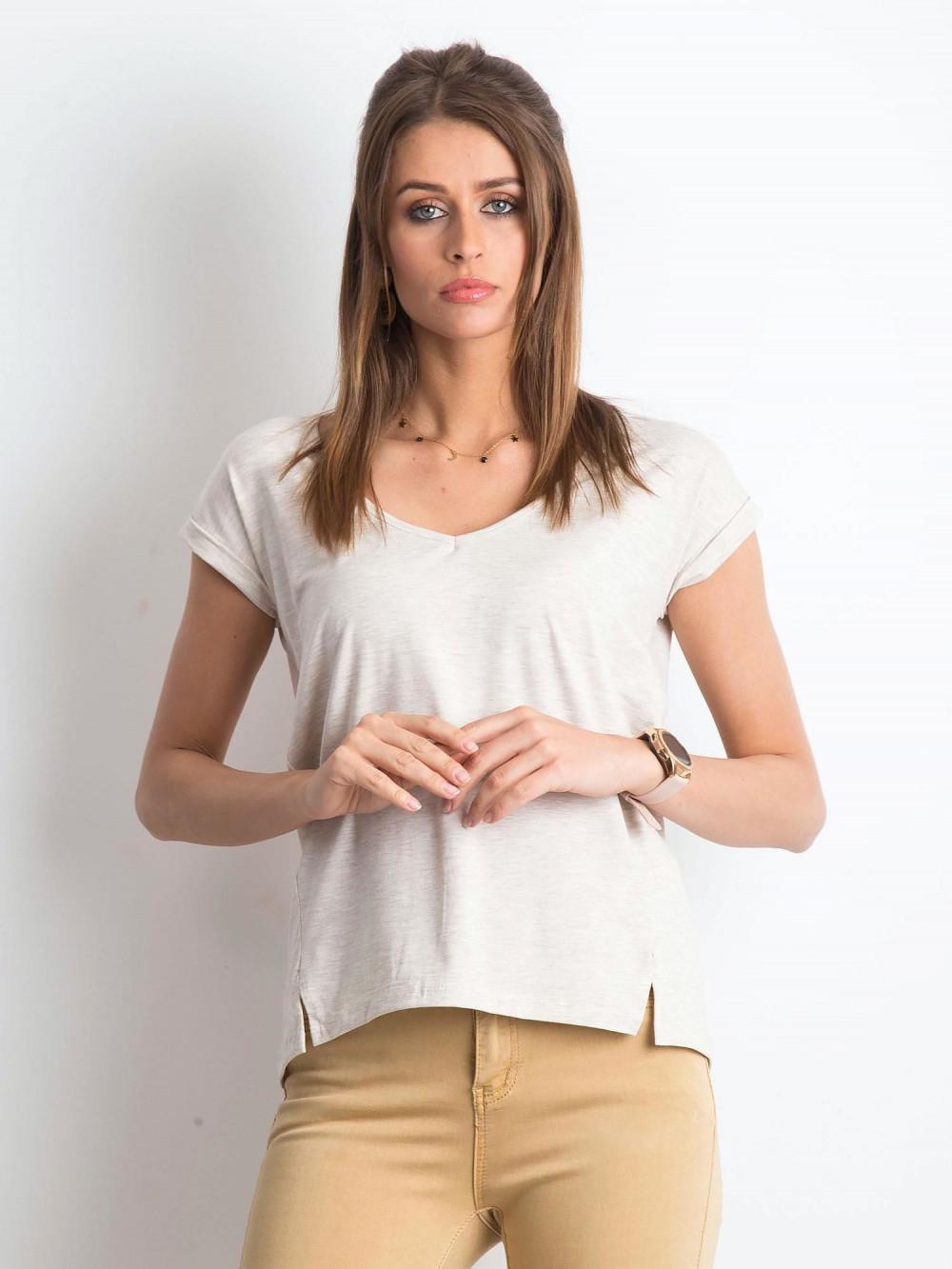 Beżowy melanżowy t-shirt z dekoltem w serek Secret 1