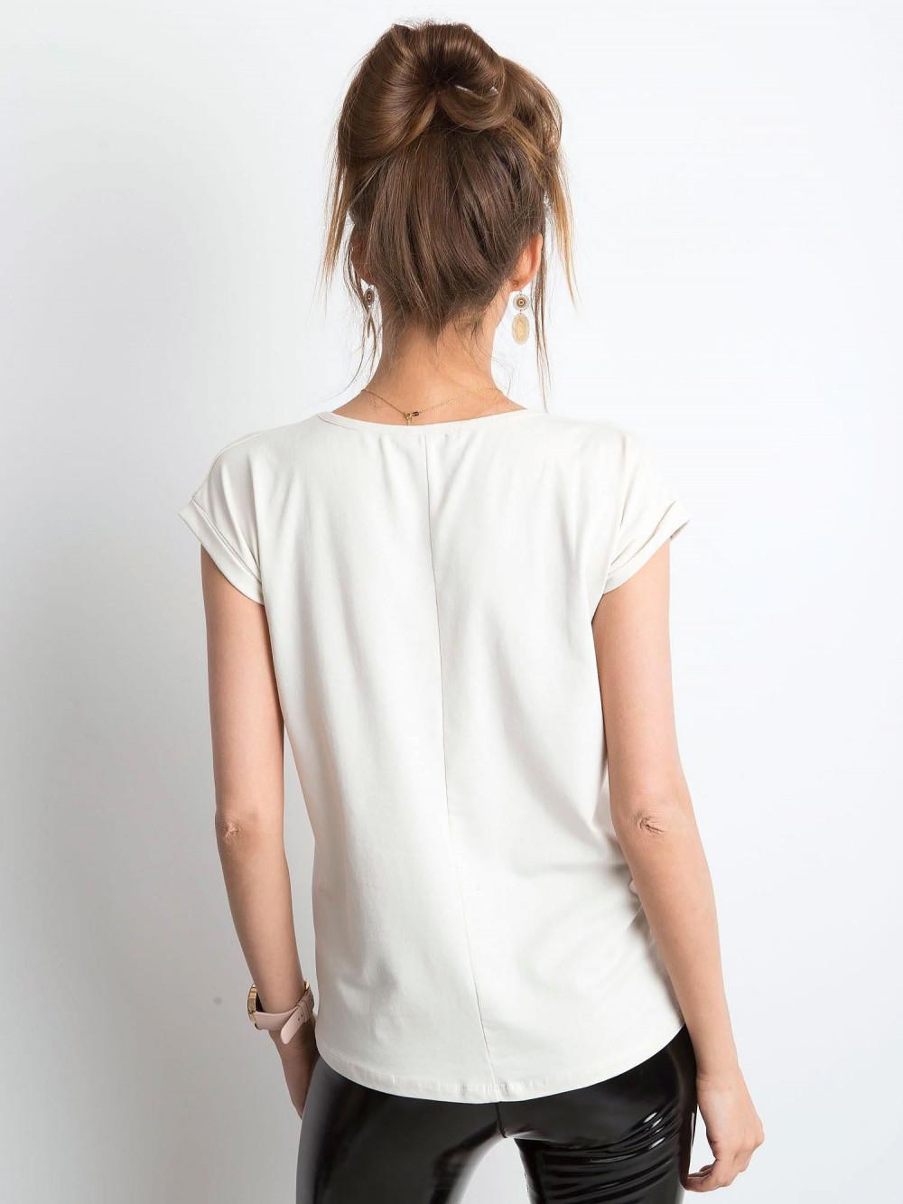Beżowy t-shirt z dekoltem w serek Secret 3