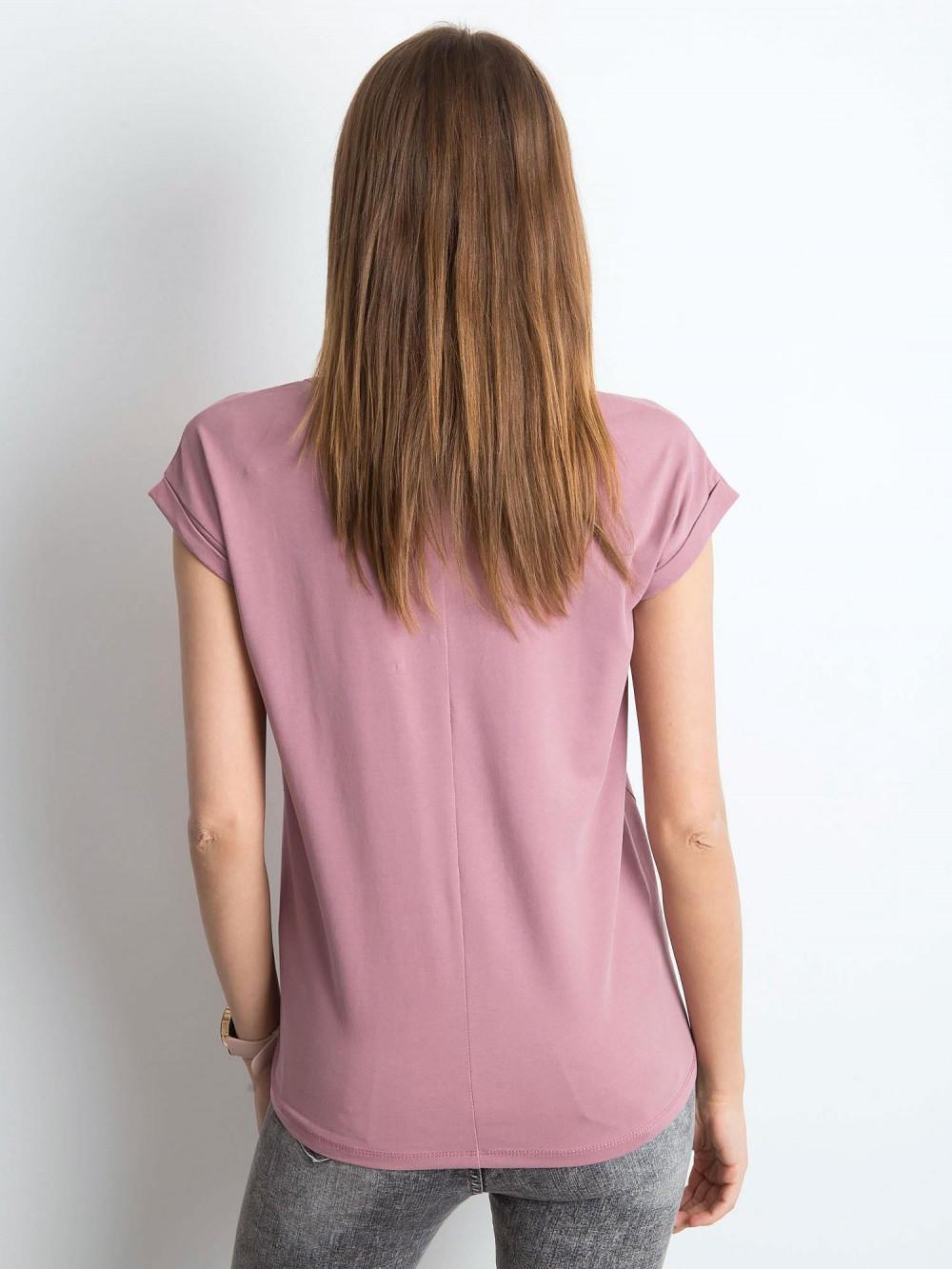 Brudnoróżowy t-shirt z dekoltem w serek Secret 3