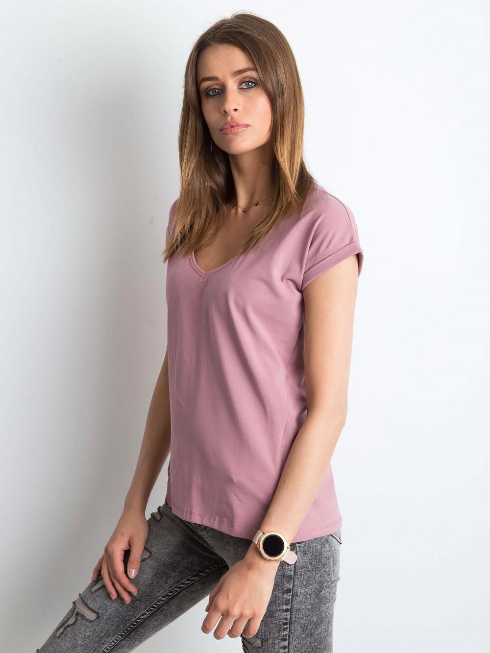 Brudnoróżowy t-shirt z dekoltem w serek Secret 2