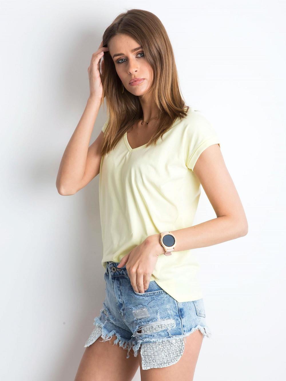 Jasnożółty t-shirt z dekoltem w serek Secret 2