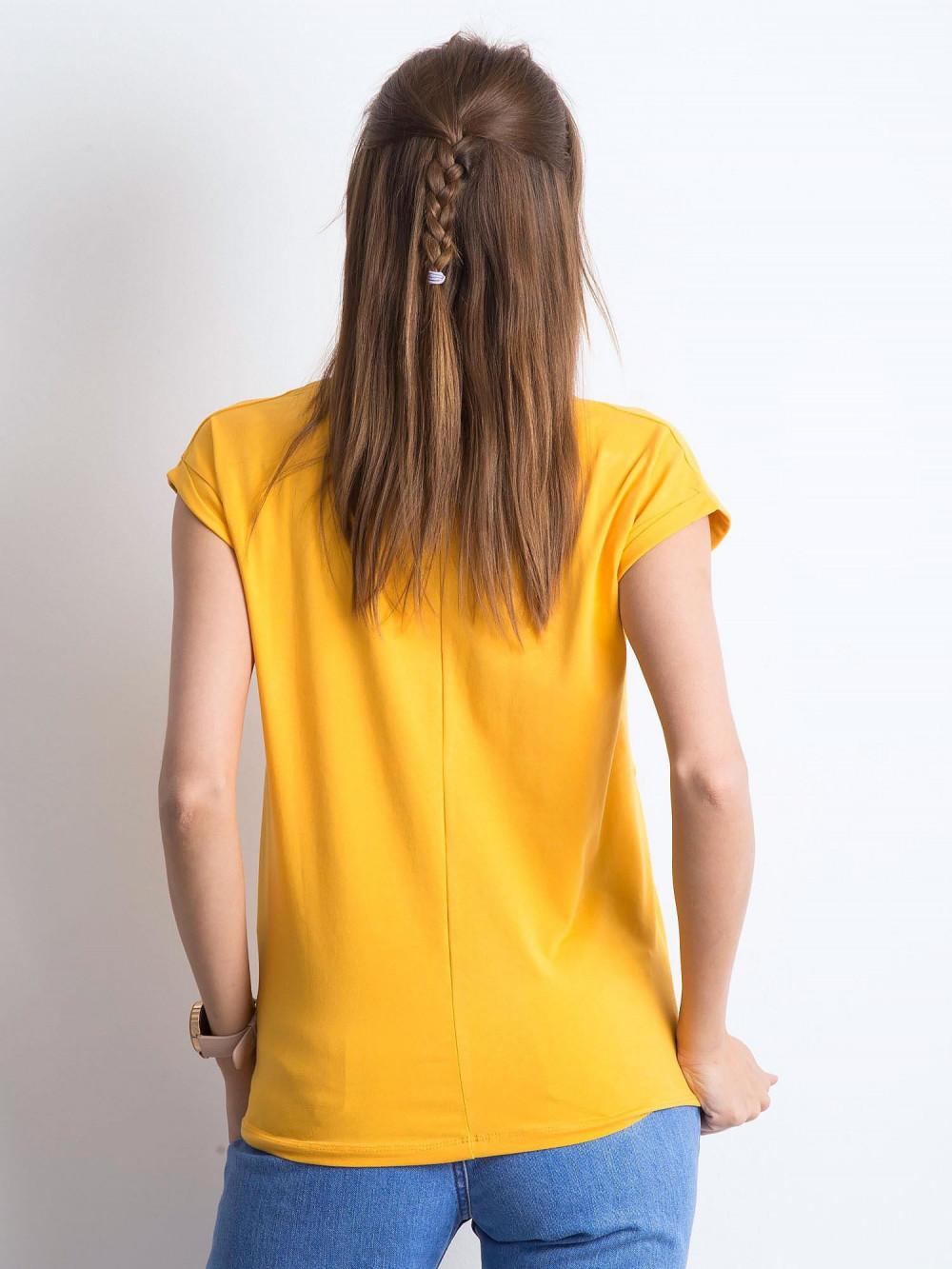 Jasnopomarańczowy t-shirt z dekoltem w serek Secret 3