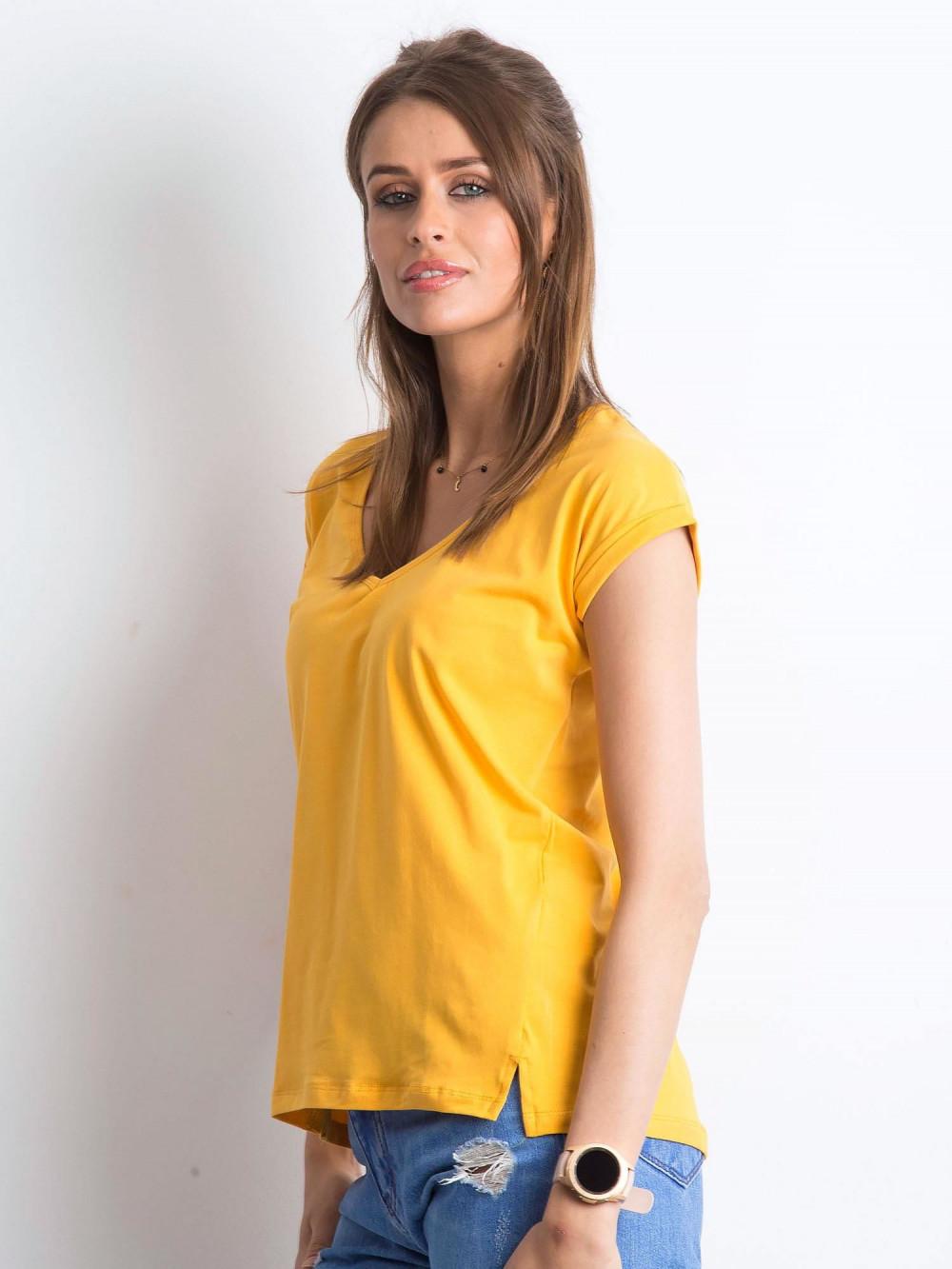 Jasnopomarańczowy t-shirt z dekoltem w serek Secret 2