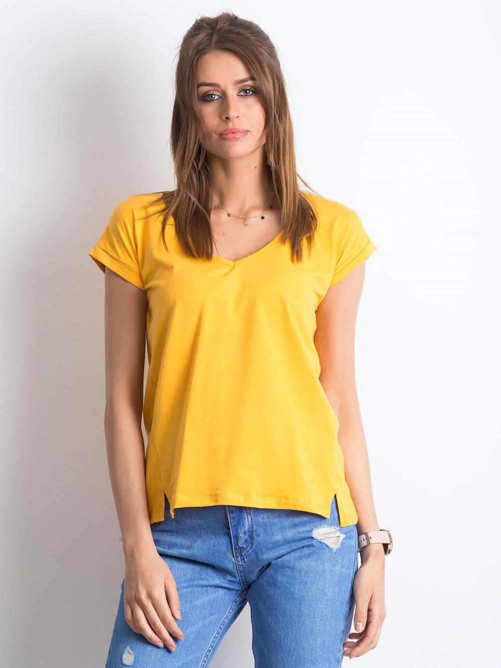 Jasnopomarańczowy t-shirt z dekoltem w serek Secret 1