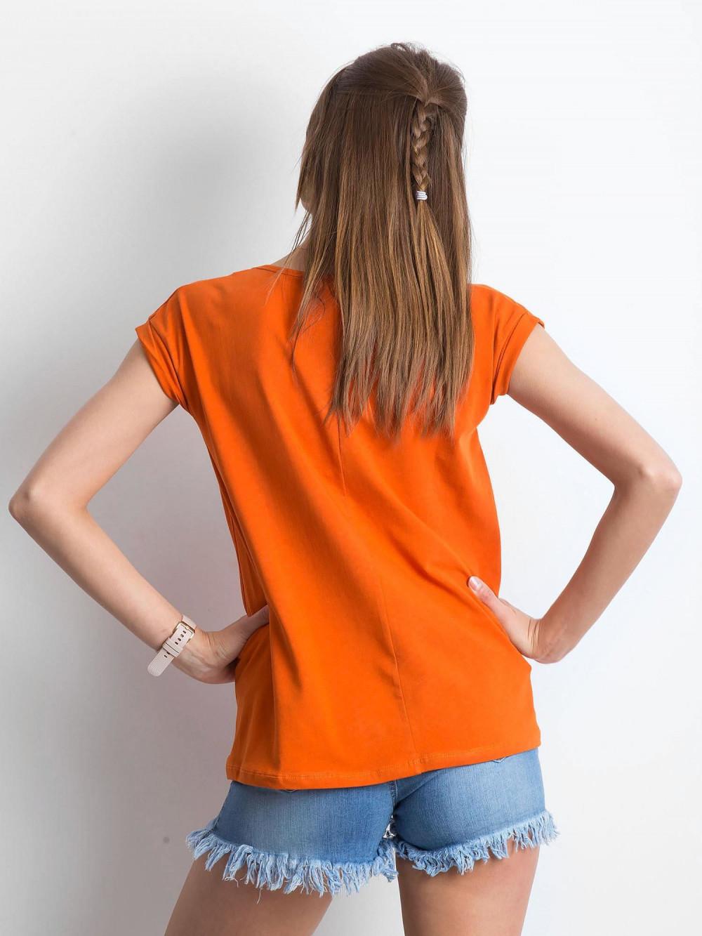 Ciemnopomarańczowy t-shirt z dekoltem w serek Secret 3