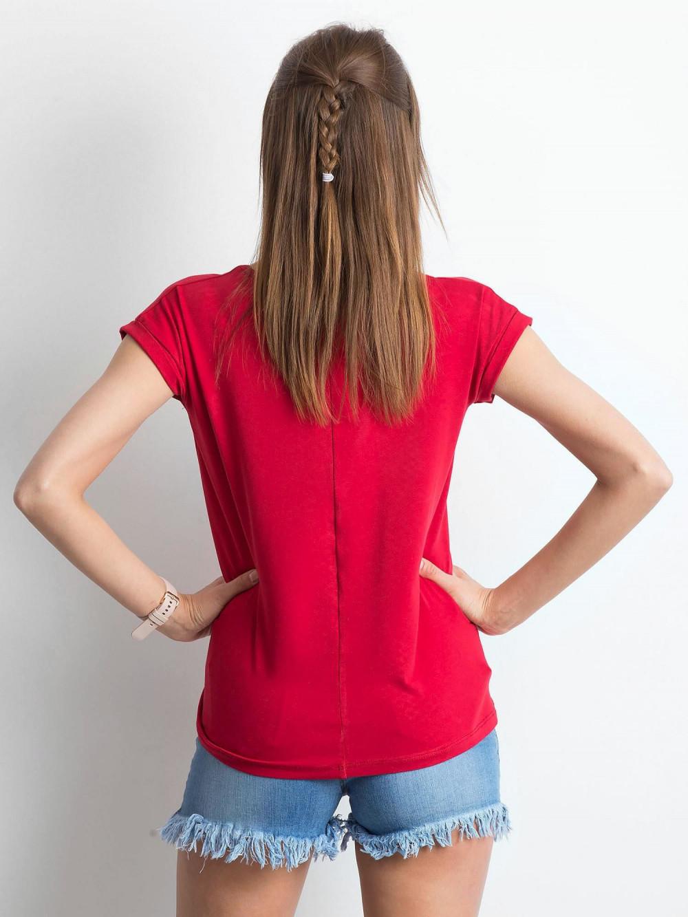 Bordowy t-shirt z dekoltem w serek Secret 3