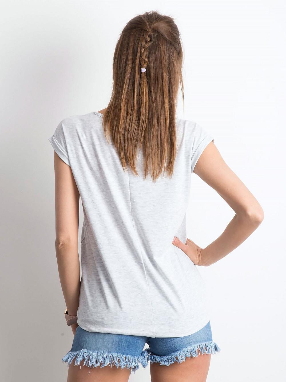 Jasnoszary melanżowy t-shirt z dekoltem w serek Secret 2