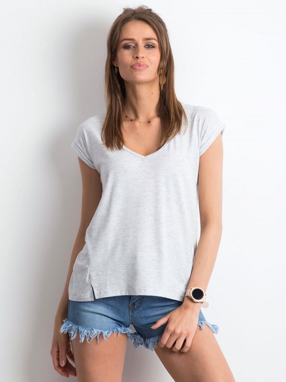 Jasnoszary melanżowy t-shirt z dekoltem w serek Secret 1