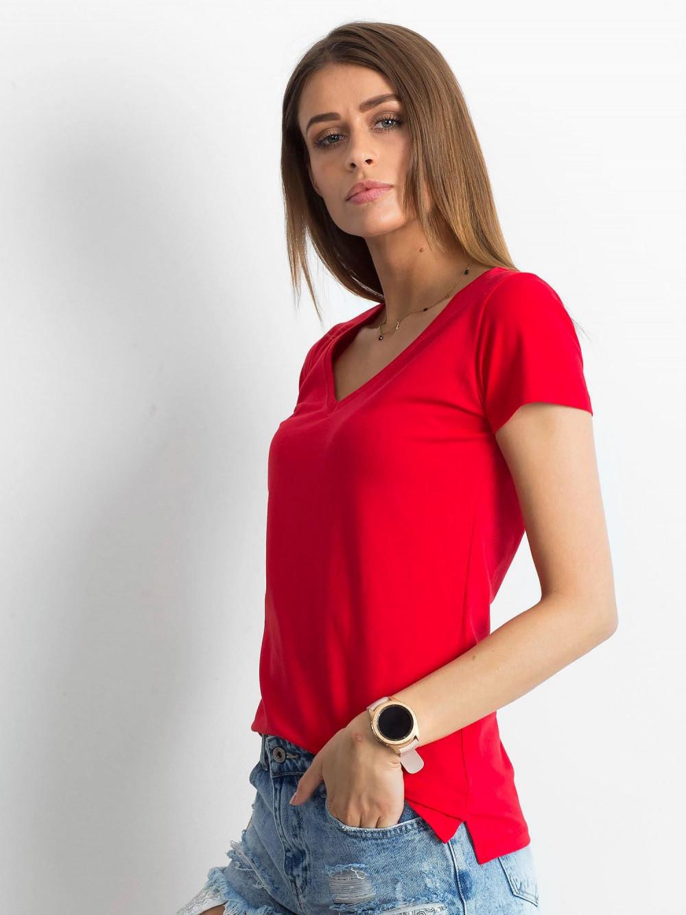 Czerwony t-shirt z dekoltem V-Neck Amy 2