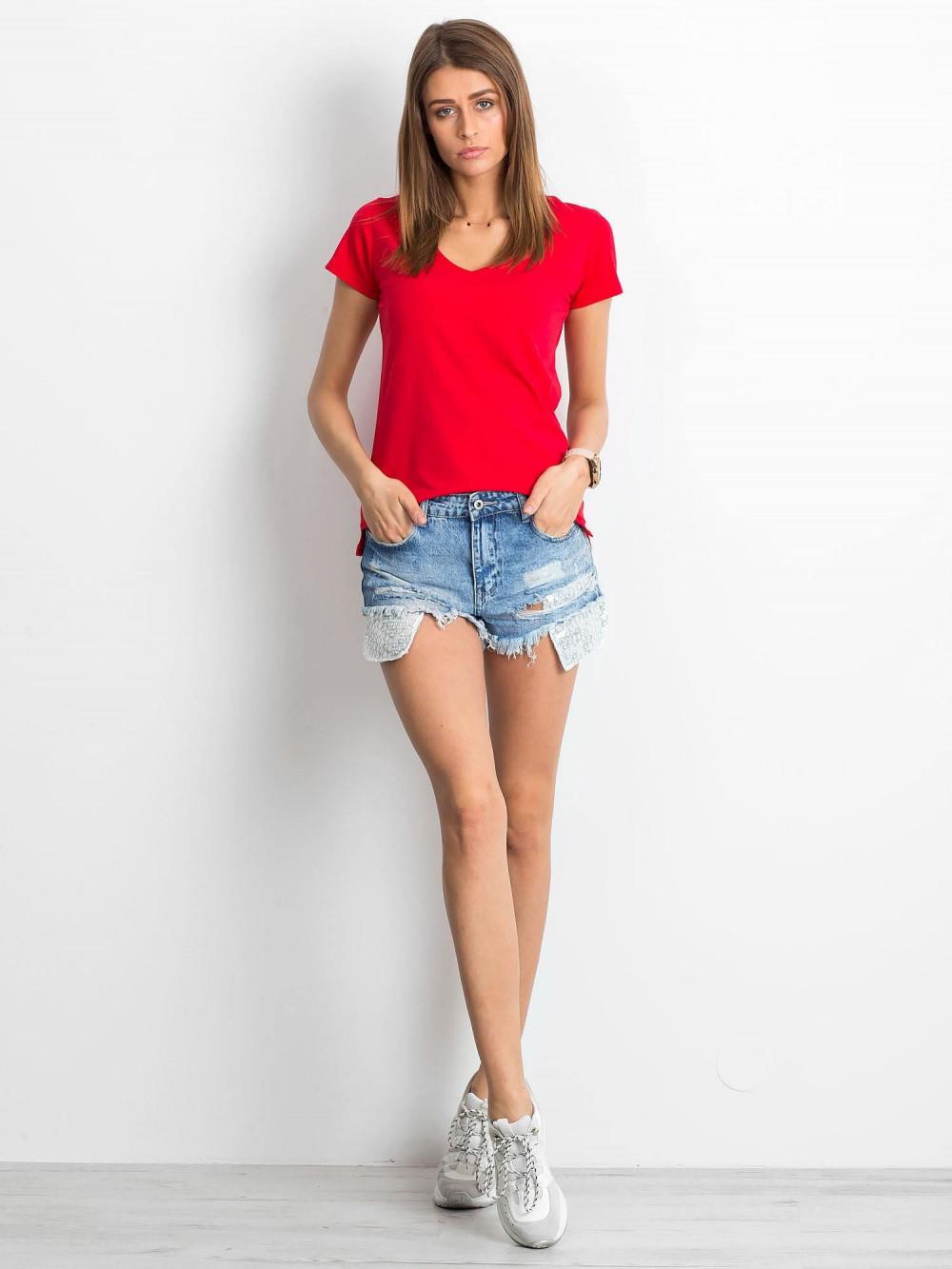 Czerwony t-shirt z dekoltem V-Neck Amy 4