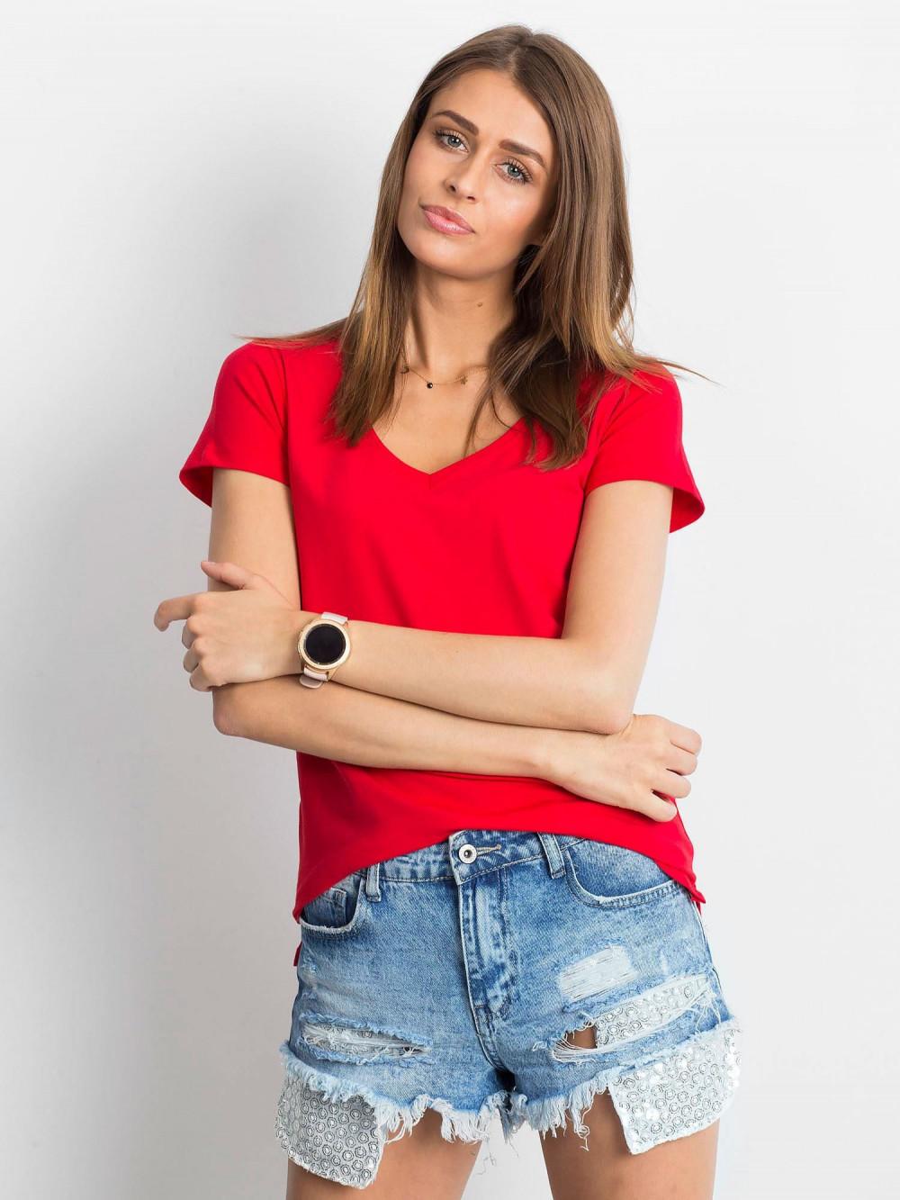 Czerwony t-shirt z dekoltem V-Neck Amy 1