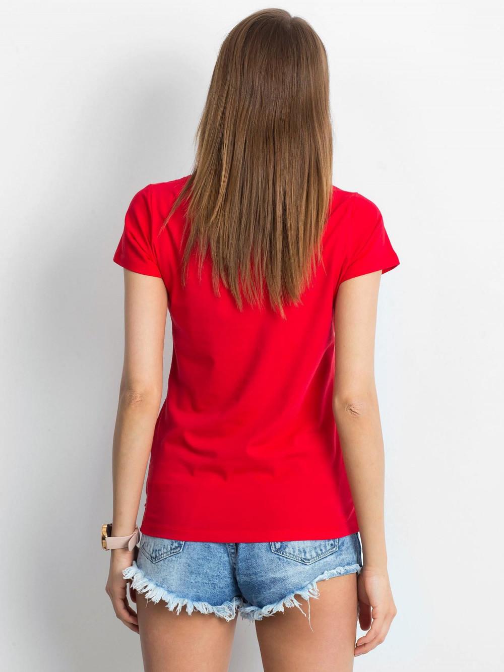 Czerwony t-shirt z dekoltem V-Neck Amy 3