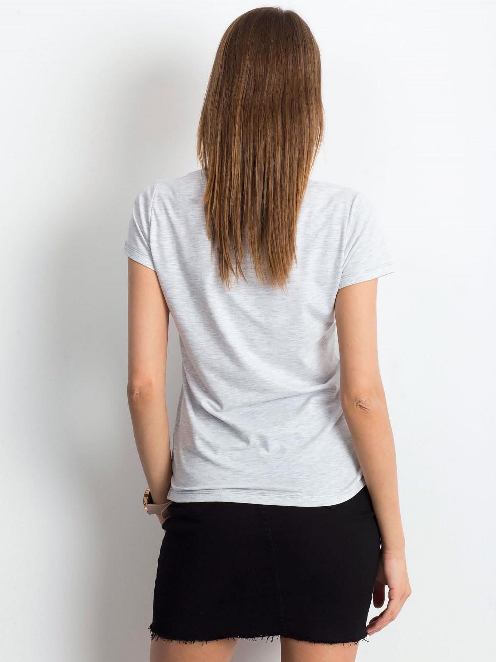 Jasnoszary melanżowy t-shirt z dekoltem V-Neck Amy 3