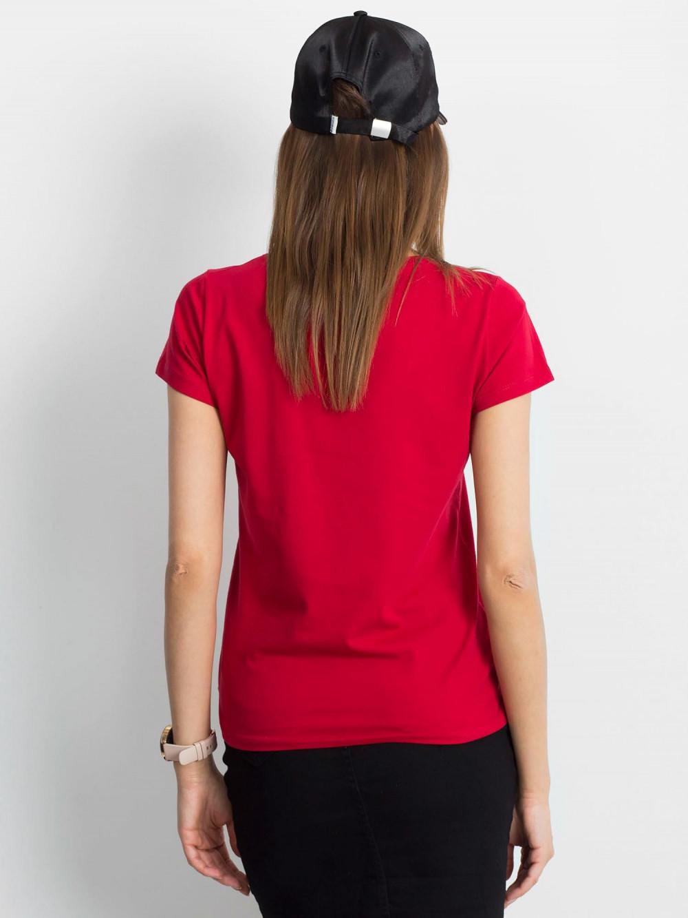 Bordowy t-shirt z dekoltem V-Neck Amy 3