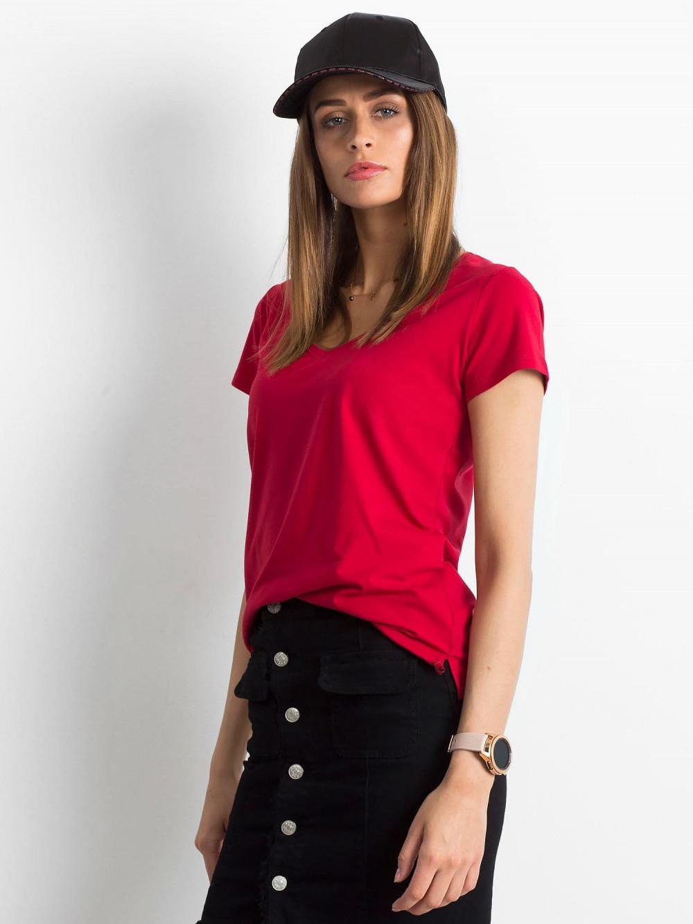 Bordowy t-shirt z dekoltem V-Neck Amy 2