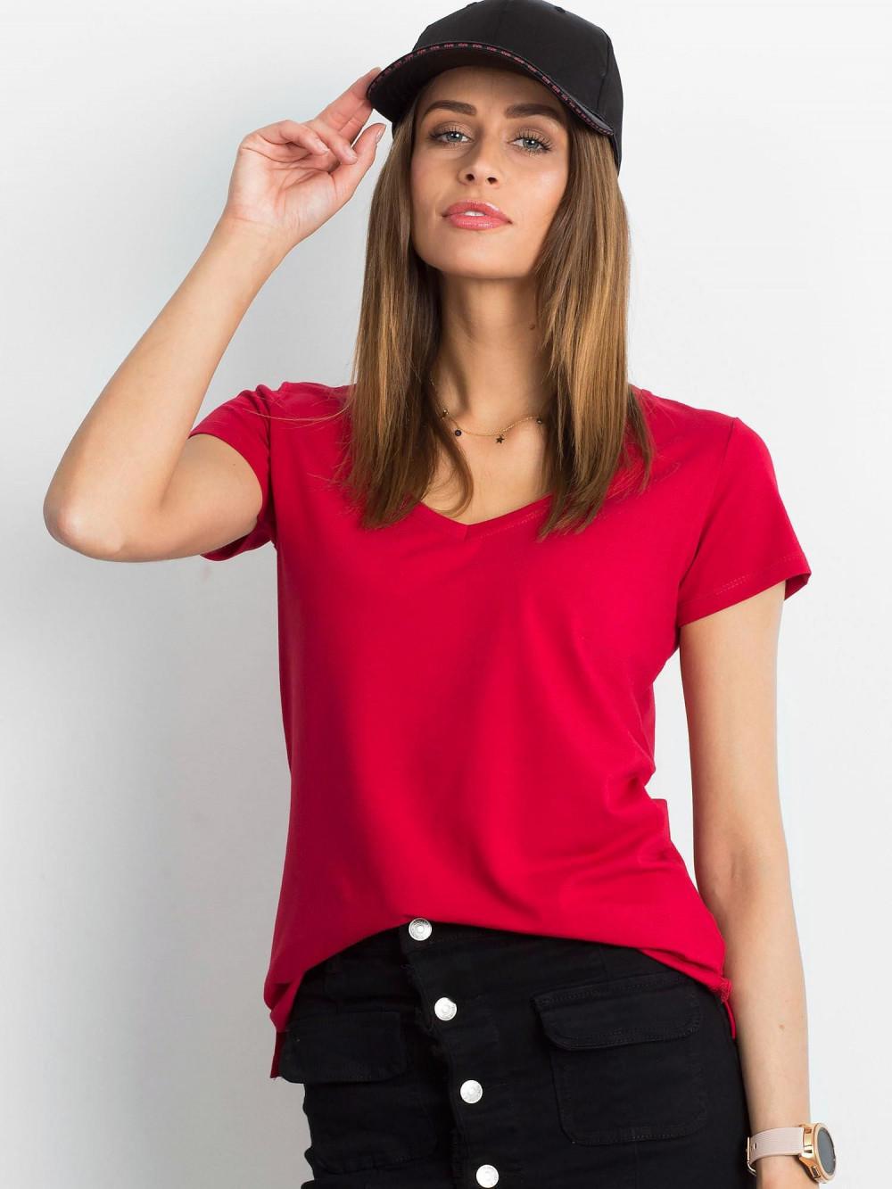 Bordowy t-shirt z dekoltem V-Neck Amy 1