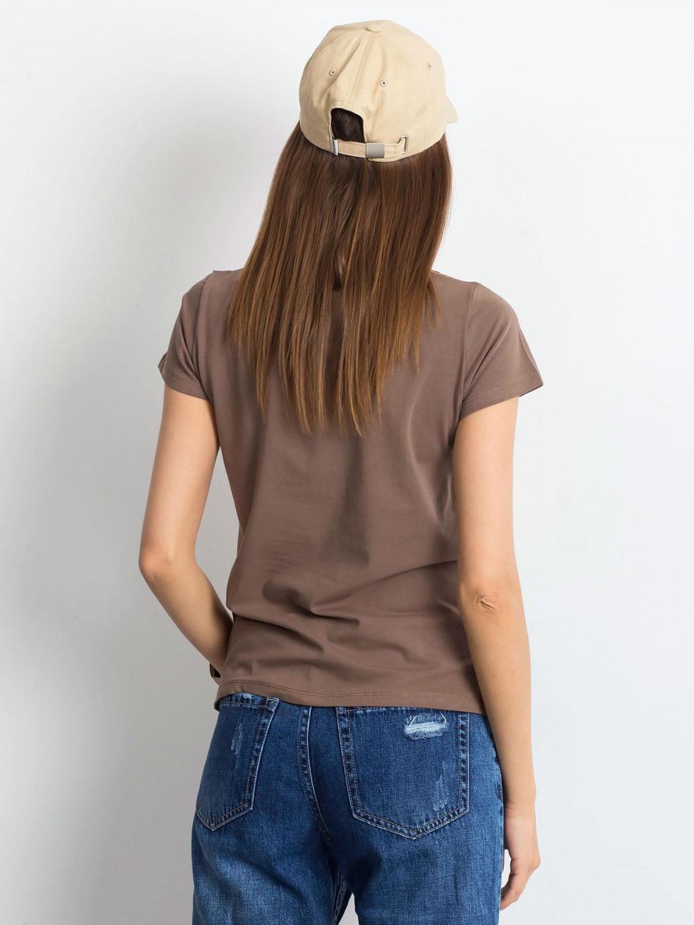 Kawowy t-shirt z dekoltem V-Neck Amy 3