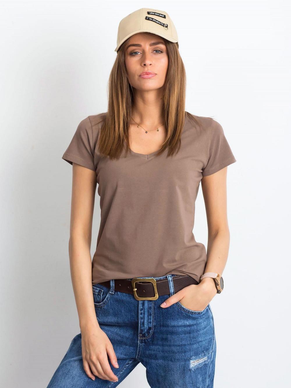 Kawowy t-shirt z dekoltem V-Neck Amy 1