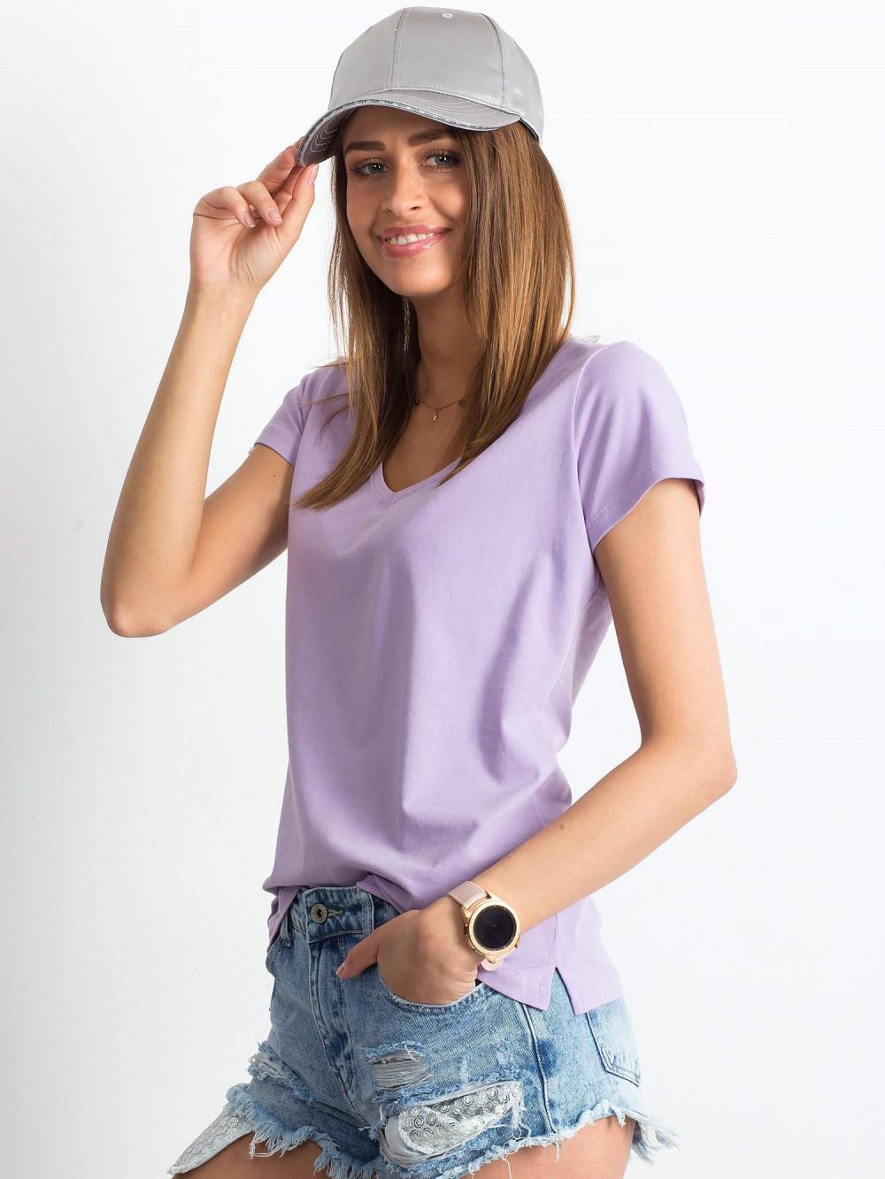 Jasnofioletowy t-shirt z dekoltem V-Neck Amy 2