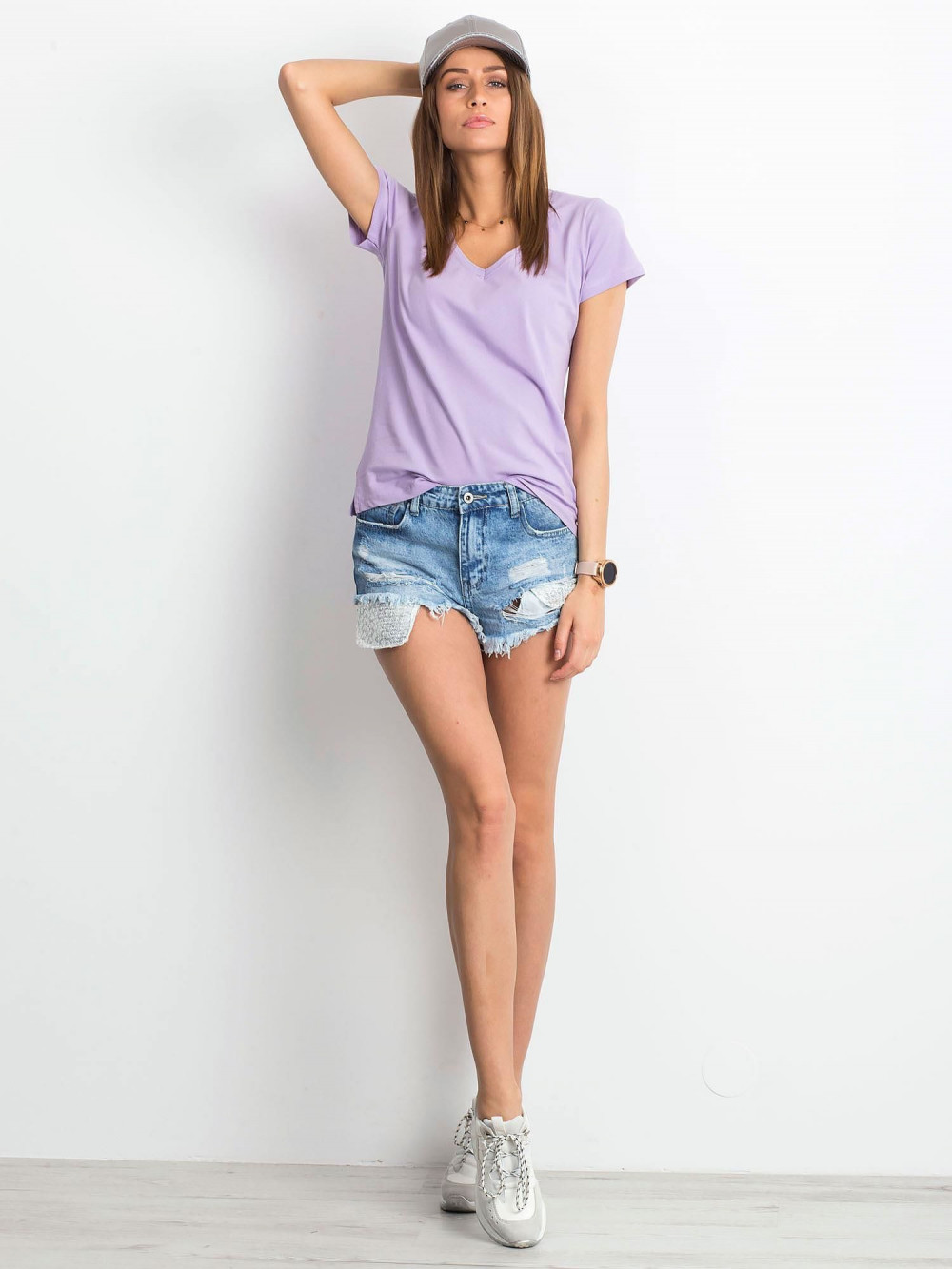 Jasnofioletowy t-shirt z dekoltem V-Neck Amy 4