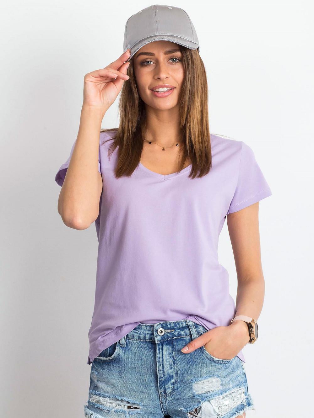 Jasnofioletowy t-shirt z dekoltem V-Neck Amy 1