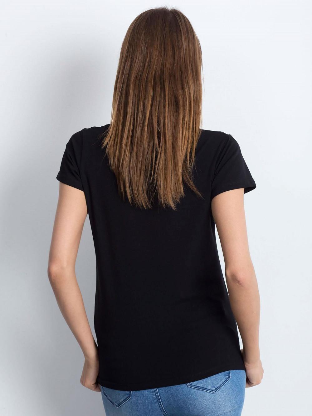 Czarny t-shirt z dekoltem V-Neck Amy 3