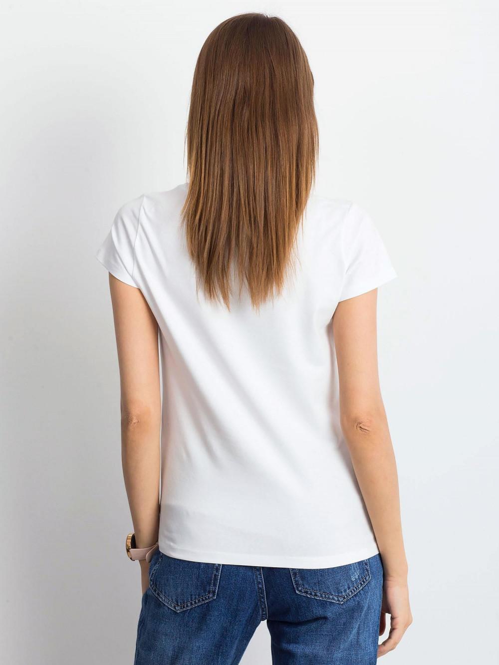 Biały t-shirt z dekoltem V-Neck Amy 3