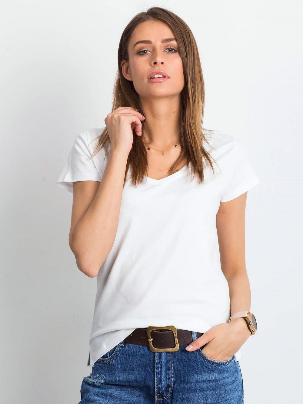 Biały t-shirt z dekoltem V-Neck Amy 1