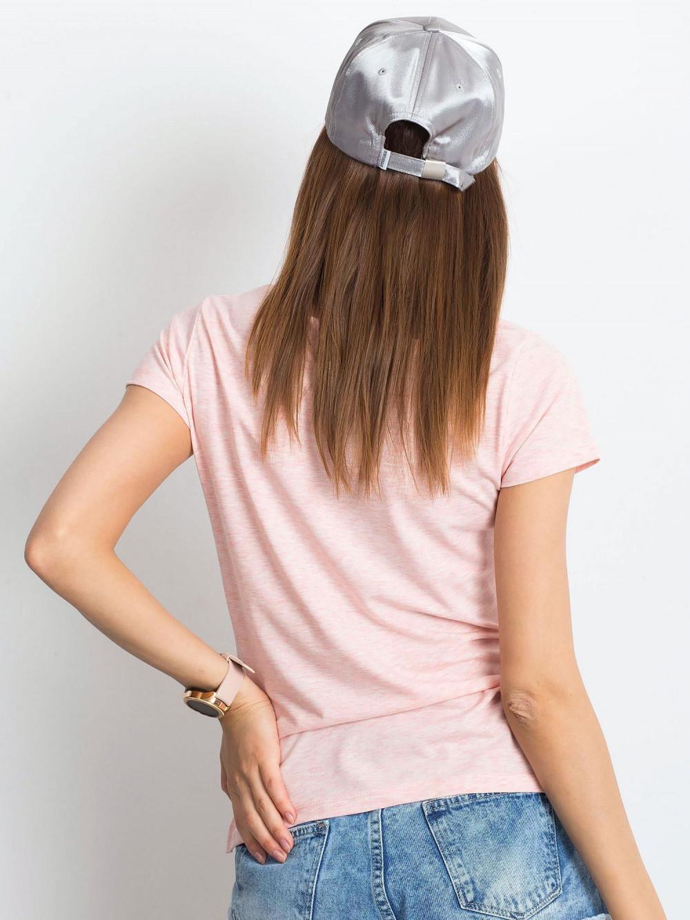 Różowy melanżowy t-shirt z dekoltem V-Neck Amy 3