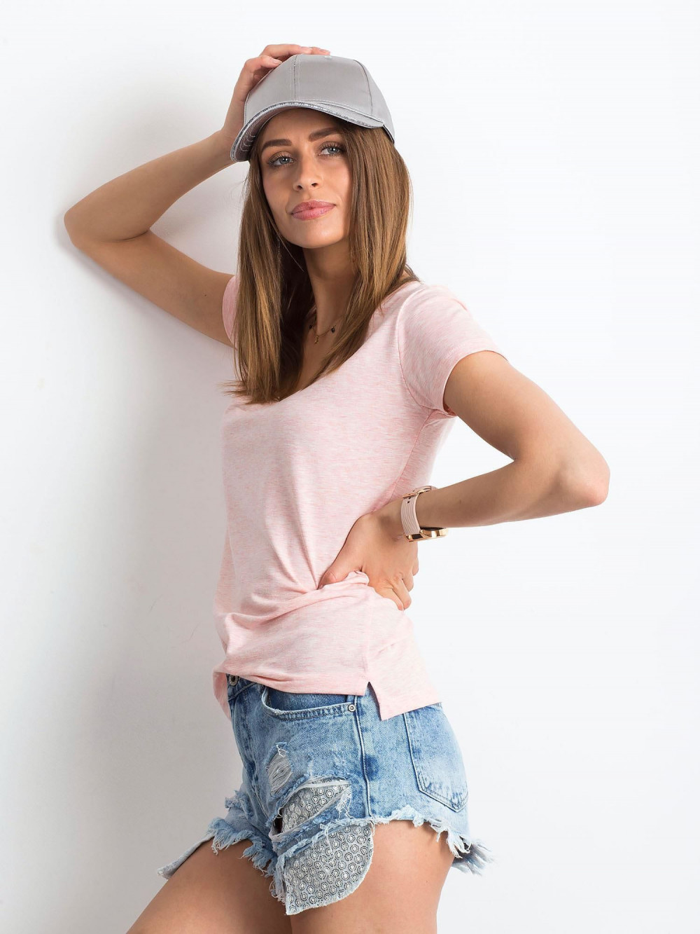 Różowy melanżowy t-shirt z dekoltem V-Neck Amy 2