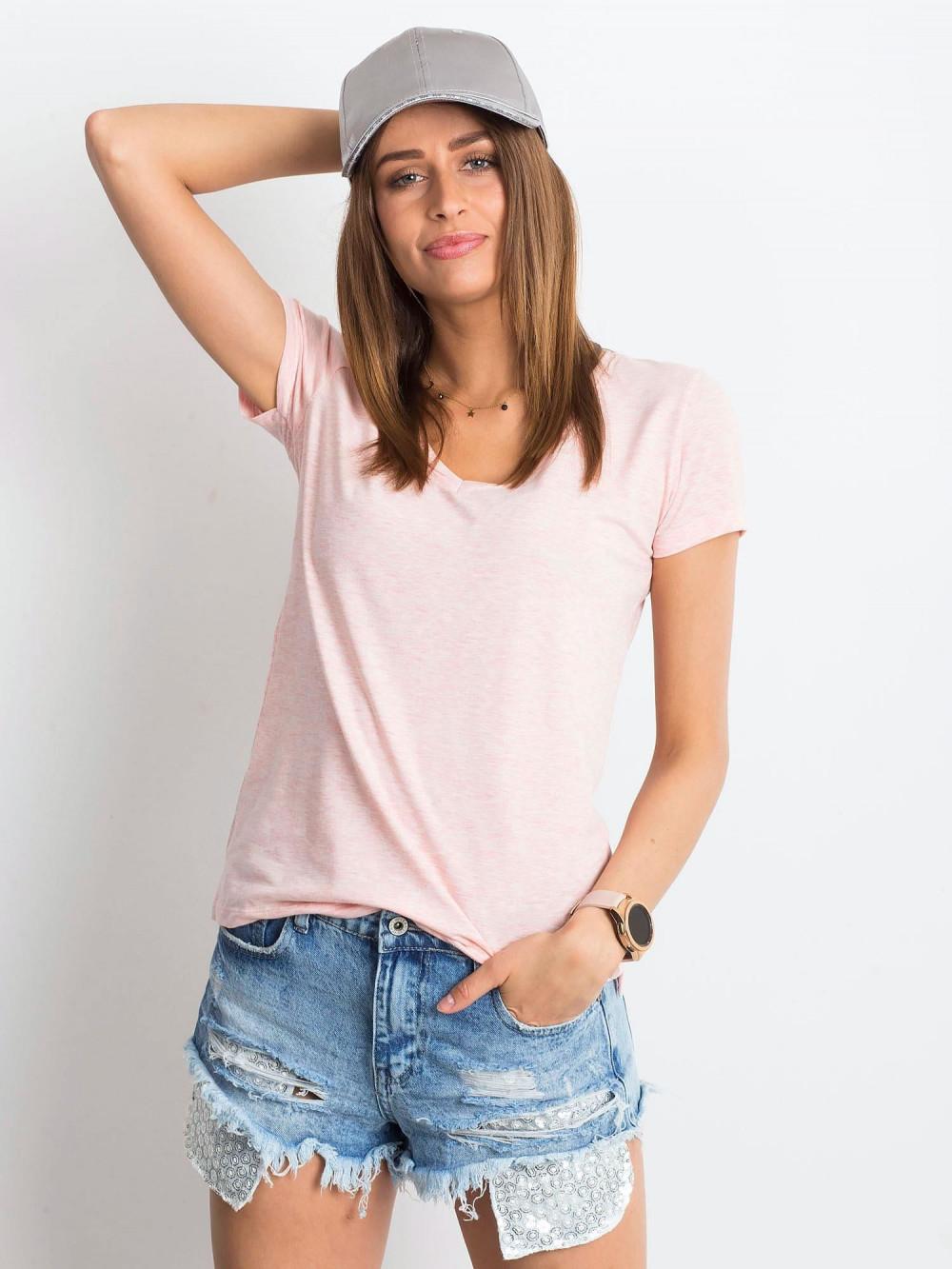 Różowy melanżowy t-shirt z dekoltem V-Neck Amy 1