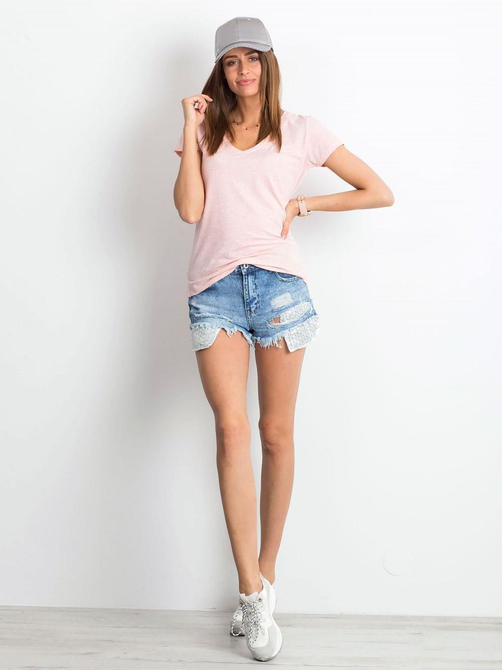 Różowy melanżowy t-shirt z dekoltem V-Neck Amy 4