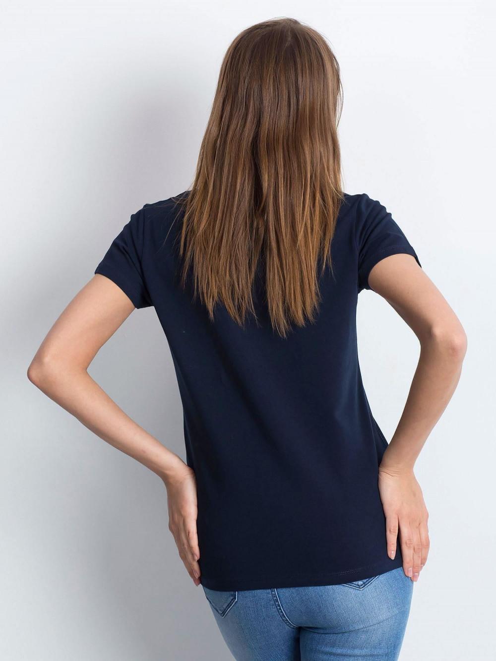 Granatowy t-shirt z dekoltem V-Neck Amy 3
