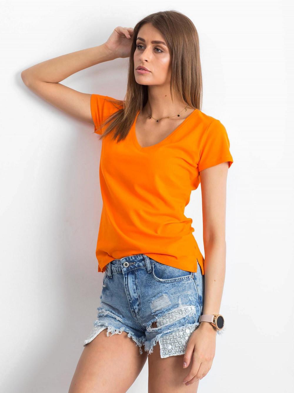 Pomarańczowy t-shirt z dekoltem V-Neck Amy 2