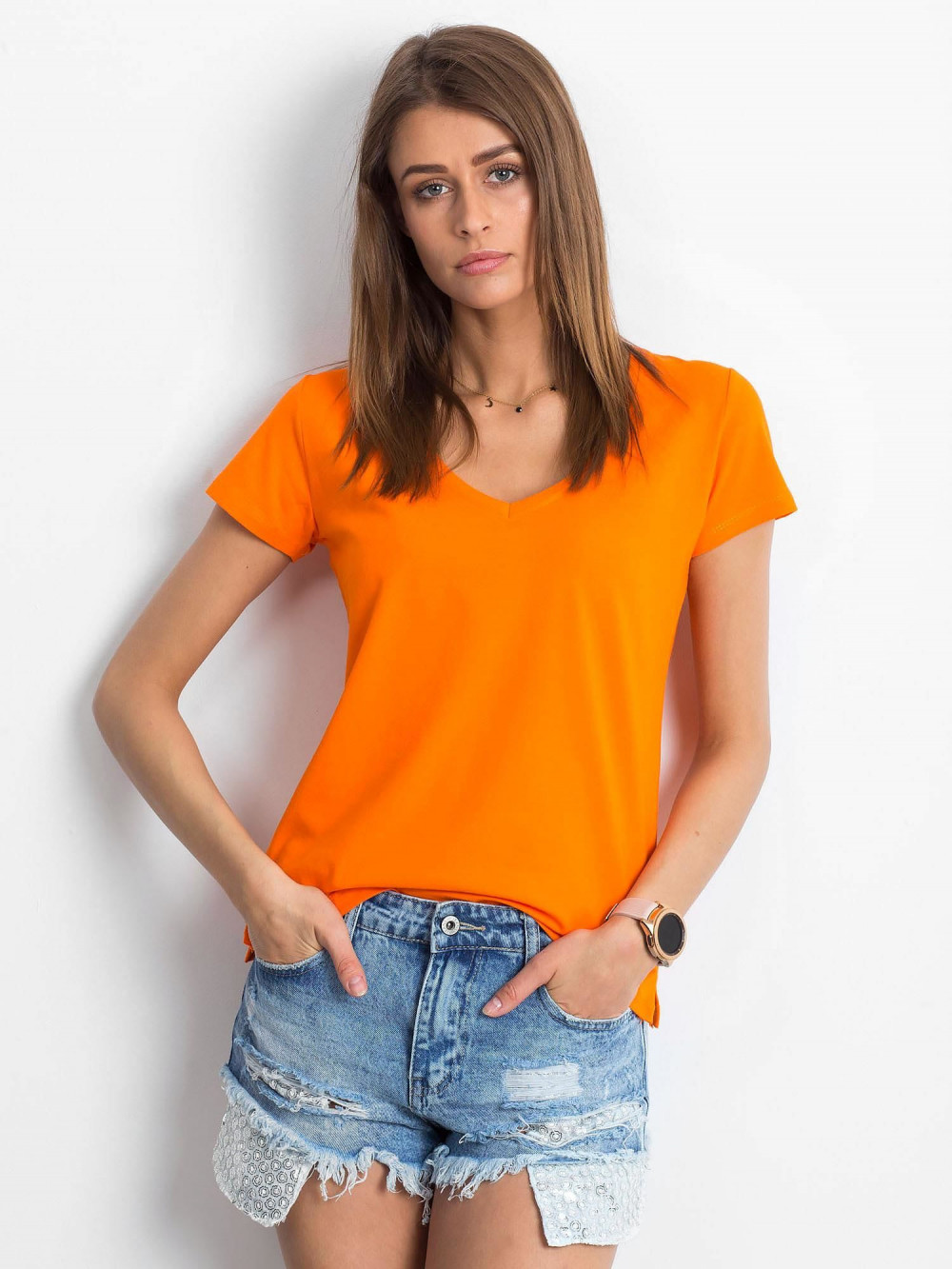 Pomarańczowy t-shirt z dekoltem V-Neck Amy 1