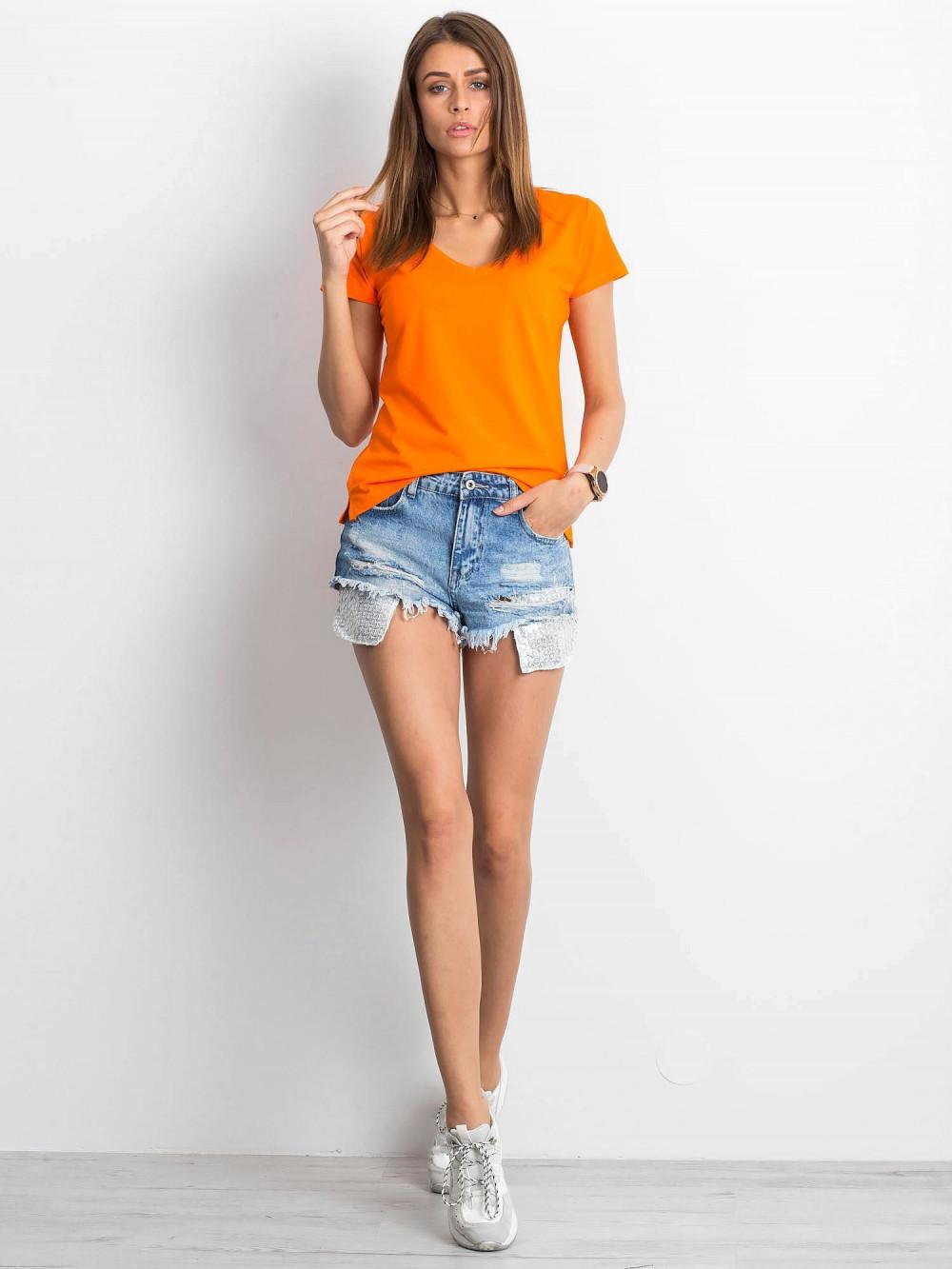 Pomarańczowy t-shirt z dekoltem V-Neck Amy 4