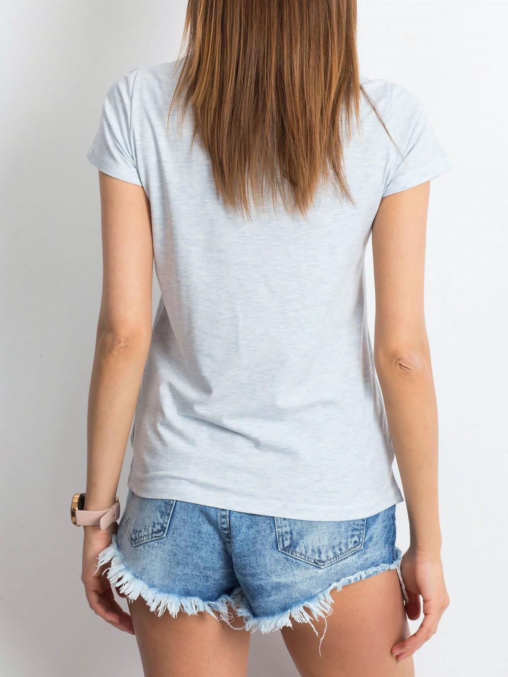 Jasnoniebieski melanżowy t-shirt z dekoltem V-Neck Amy 3