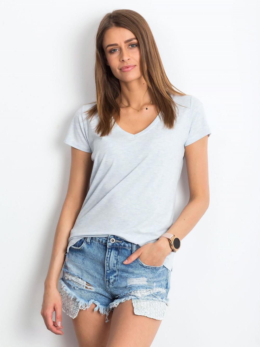 Jasnoniebieski melanżowy t-shirt z dekoltem V-Neck Amy 1