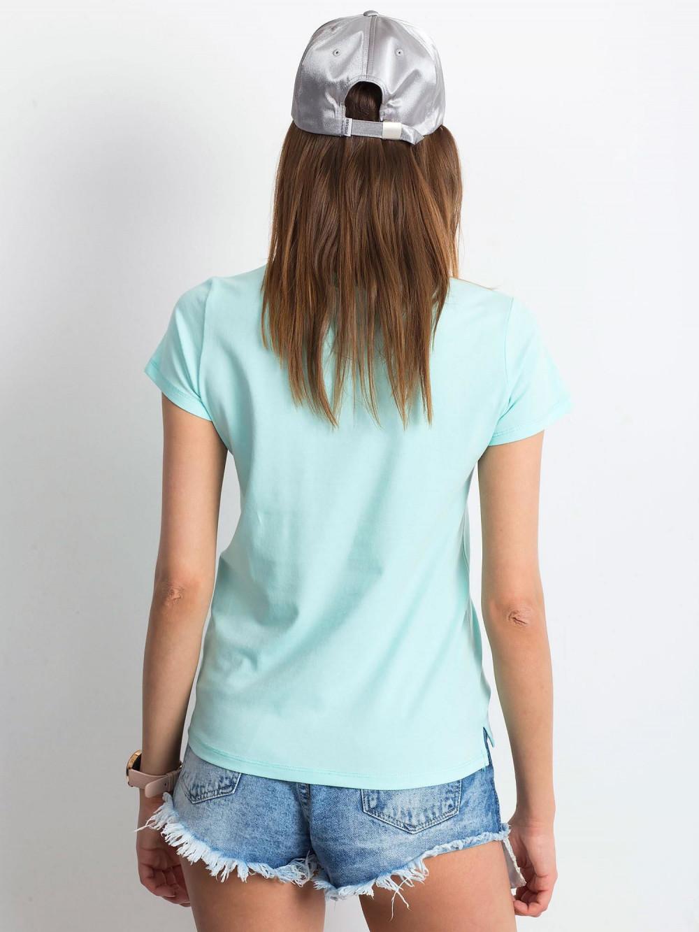 Miętowy t-shirt z dekoltem V-Neck Amy 3