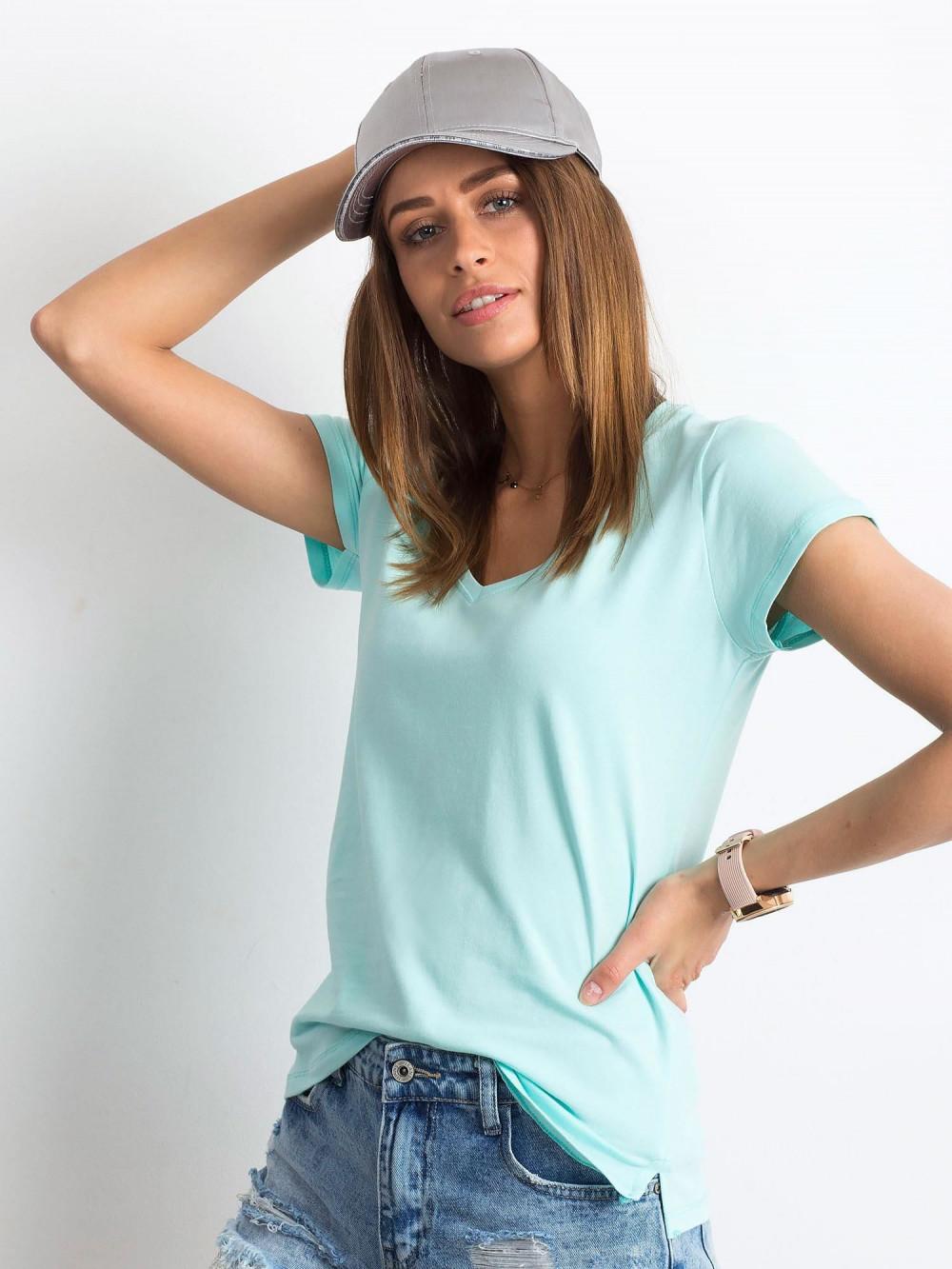 Miętowy t-shirt z dekoltem V-Neck Amy 2