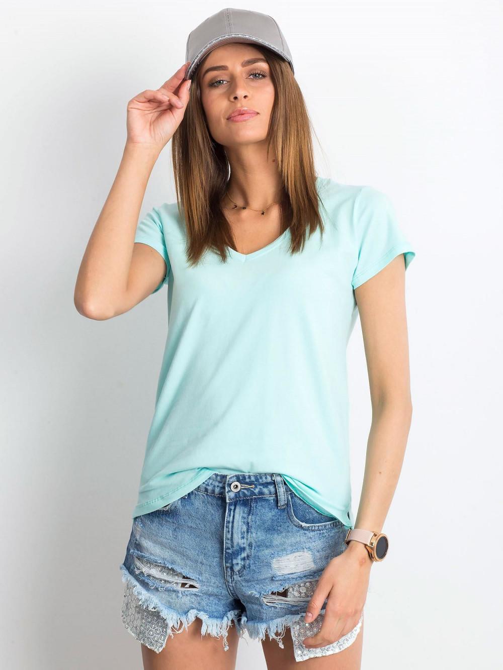 Miętowy t-shirt z dekoltem V-Neck Amy 1